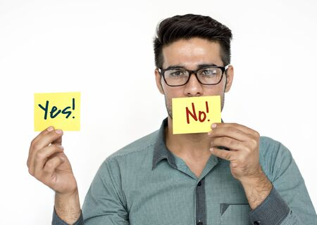 Man Choose Decision Yes No Answer Stock Photo