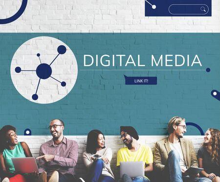 Les gens connectées avec illustration de la communication de médias sociaux Banque d'images - 82479853