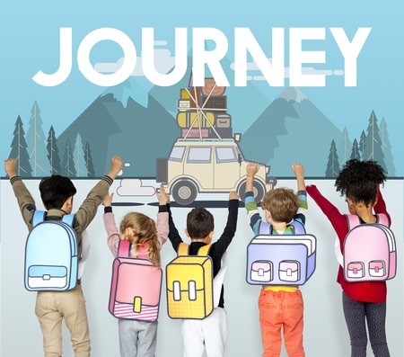 Children with illustration of discovery journey road trip traveling Stock fotó