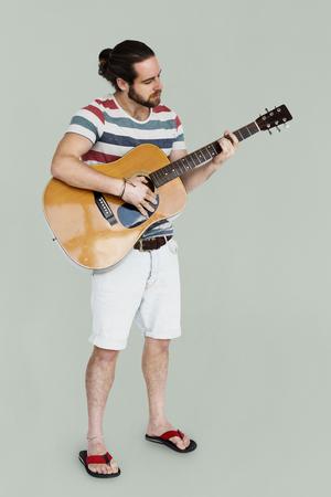 Man Playing Guitar Music Instrument Entertainment Фото со стока