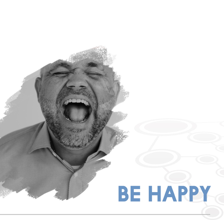 Be Happy Motivation Word on Shouting Man Backgroud
