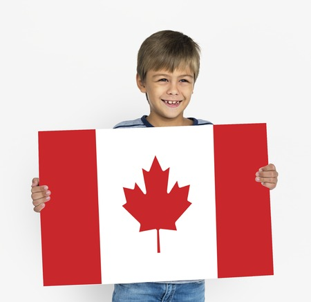 Boy Hands Hold Canada Flag Patriotism