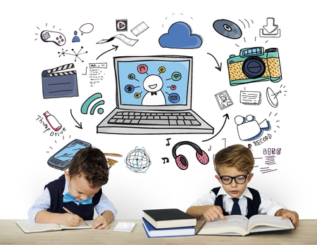 wireless icon: Children with modern technology icons Stock Photo