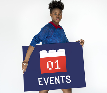 african american woman: Calendar Agenda Diary Event Planner Stock Photo