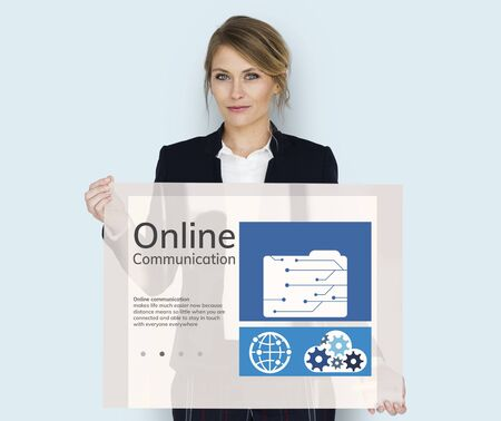 Woman holding network graphic overlay billboard