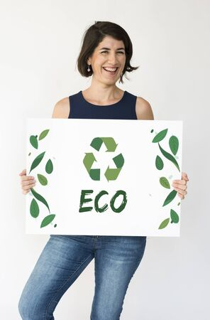 Adult Woman with Recycle Sign Eco Friendly Save Earth Word Graphic 版權商用圖片 - 82314415