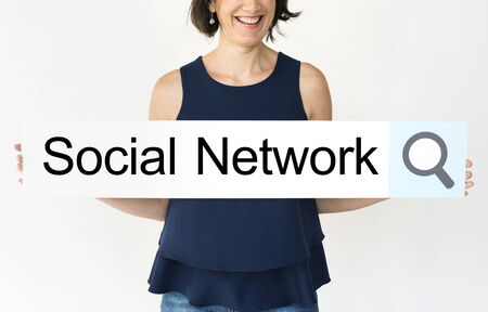 chat room: Woman holding network graphic overlay banner