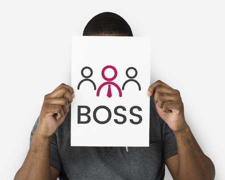 Illustration of boss manage and lead the team Imagens