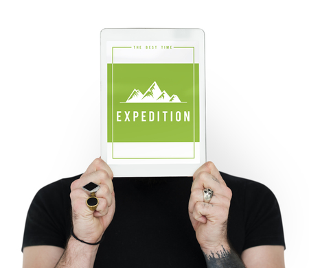 People showing travel adventure outdoors exploration hills graphic icon Imagens - 82369437