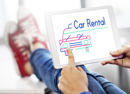 Illustration of automotive car rental transportation on digital tablet