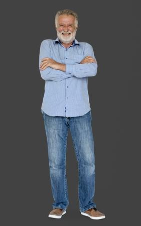 Senior Adult Man Gesture Studio Portrait