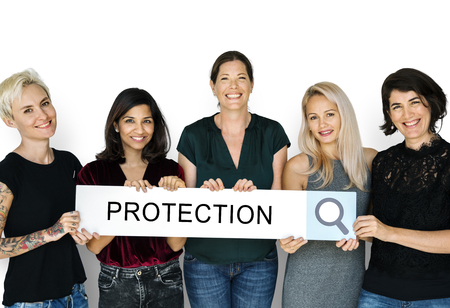 Group of women holding banner network graphic overlay Banco de Imagens