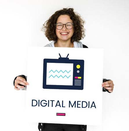 Girl holding banner of TV broadcast media entertainment