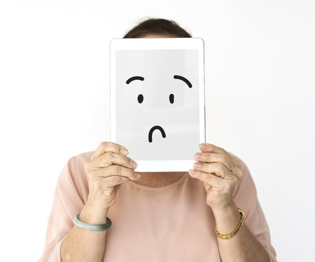 perplex: Illustration of confuse stunned face on banner Stock Photo