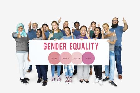 평등 개념과 함께하는 다양한 여성 스톡 콘텐츠