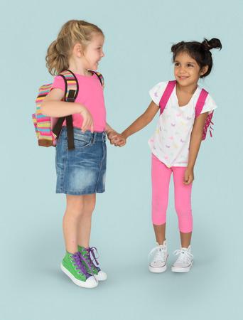 幸福の友情を笑顔の少女子ども 写真素材