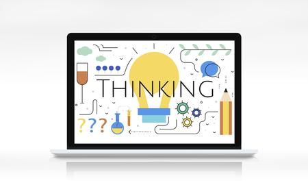 Illustration of creativity ideas light bulb on laptop Stock fotó