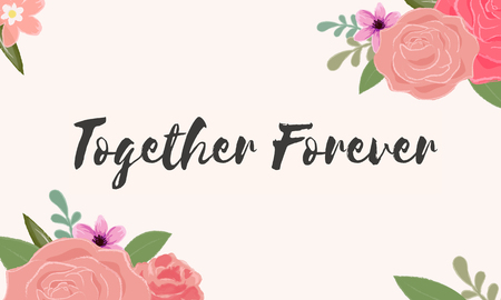 Together Forever Love Letter 메시지 단어 그래픽