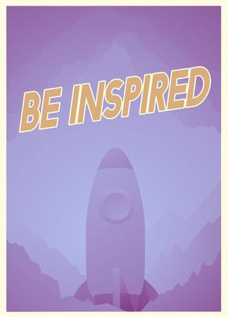 インスピレーションとロケット グラフィック良い態度についての言葉 写真素材