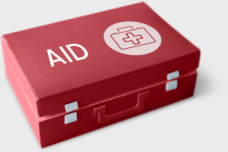 응급 처치 상자에 건강 관리 개념 단어 스톡 콘텐츠