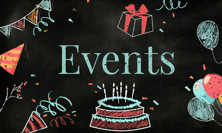 Celebration birthday party surprise events icon and word Stock fotó