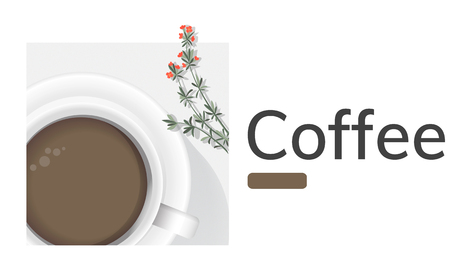 Illustration of coffee cup decoration cafe commercial Imagens