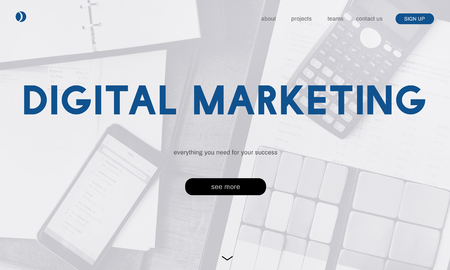 Webpage with digital marketing concept Stock Photo