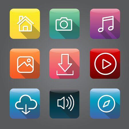Icon Collection Vector Application Content Concept Ilustração