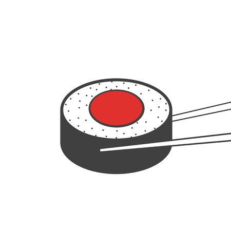 Japanese Food Sushi Roll Eating Concept Illustration