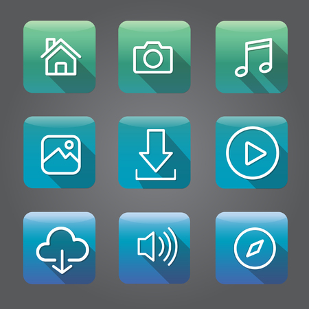 Icon Collection Vector Application Content Concept Çizim