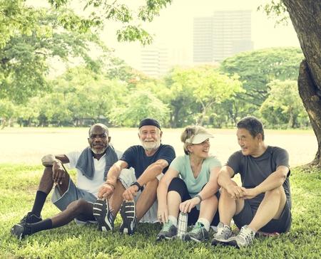 Senior Group Friends Exercise Relax Concept Banco de Imagens