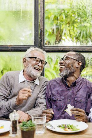 Senior Men Relax Lifestyle Dining Concept Stock Photo