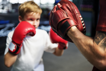 Boy Training Boxing Exercise Movement Concept Stock fotó