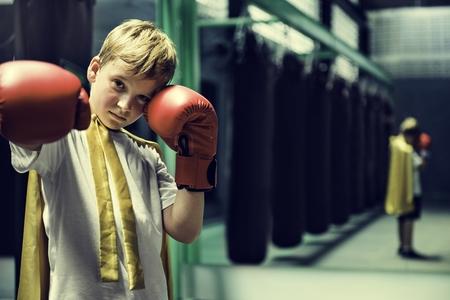 Superhero Champion Boxer Boy Strength Fighter Concept Stock Photo - 82700592