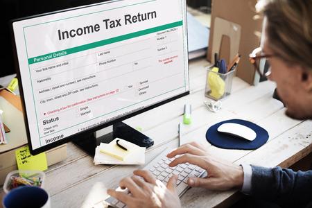 Income Tax Return Deduction Refund Concept Stock Photo
