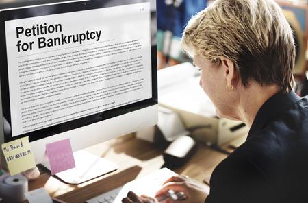 Petitie Faillissement Schuldlening Overtroffen Trouble Concept
