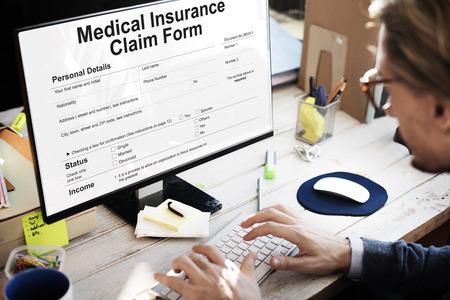 Medical Insurance Claim Form Document Concept Banco de Imagens
