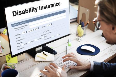 Disability Insurance Claim Form Document Concept Banco de Imagens