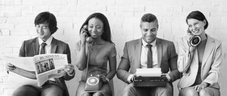 Business Team Working Using Vintage Objects Concept Stok Fotoğraf