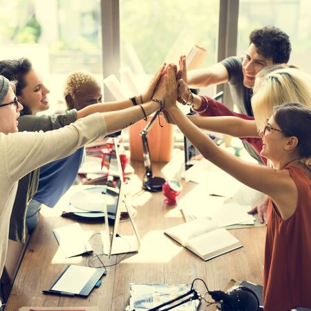 Teamwork Power Successful Meeting Workplace Concept Imagens