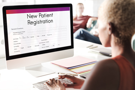 information analysis: Patient Information Form Analysis Record Medical Concept Stock Photo