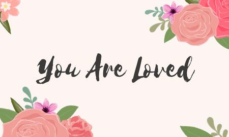 당신은 사랑받는 편지 단어 그래픽