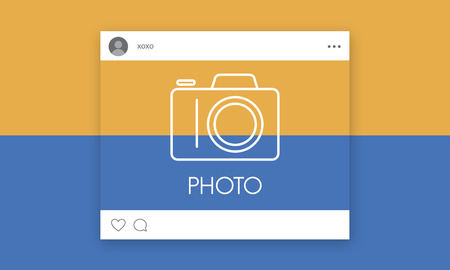 Social media with camera icon graphic