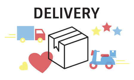 Illustration of transportation packages delivery