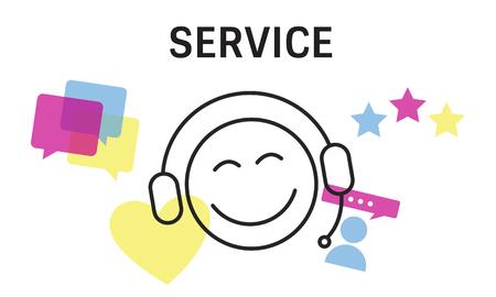 Illustration von Kontakt uns Online Kundenservice Standard-Bild - 82722037