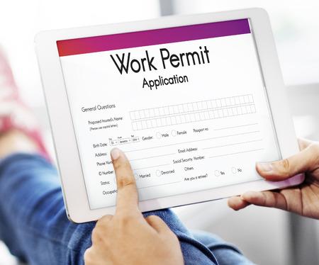 作業許可アプリケーション仕事雇用概念