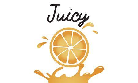 栄養価の高いジューシーなオレンジのイラスト