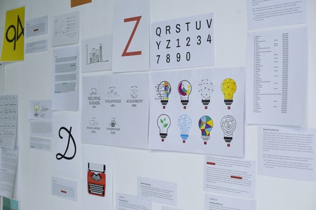 Business documents on whiteboard