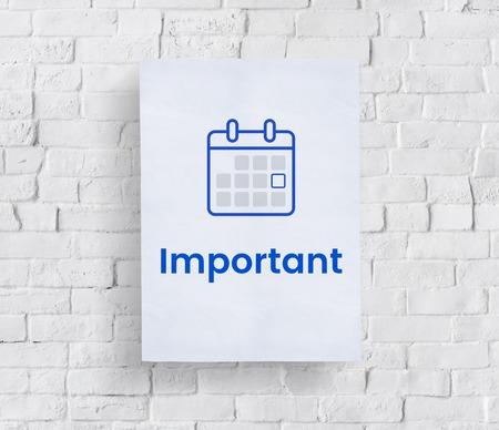 Illustration of personal organizer calendar on brick wall