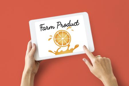 wireless: Illustration of nutritious juicy orange on digital tablet Stock Photo